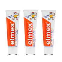Elmex 易学 德国氟化胺儿童乳牙专用牙膏 可吞咽牙膏 2-6岁 50ml 3支装